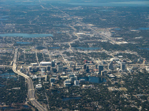 Downtown Orlando from the sky