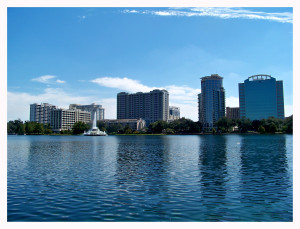 Beautiful vistas of the Orlando skyline from Lake Eola Park in Orlando, FL