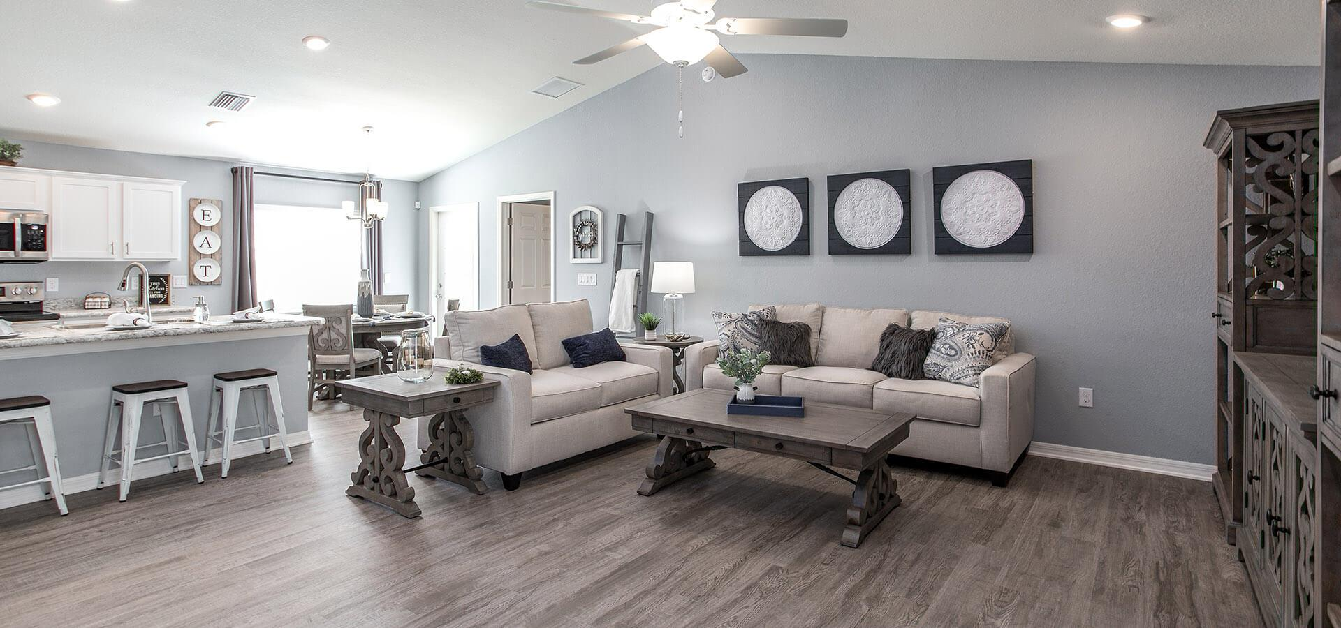 Gathering room in the Begonia new home in Davenport, FL