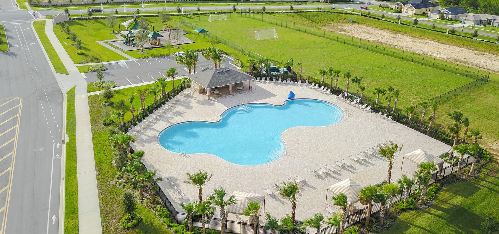 Swimming pool in Highland Meadows new home community