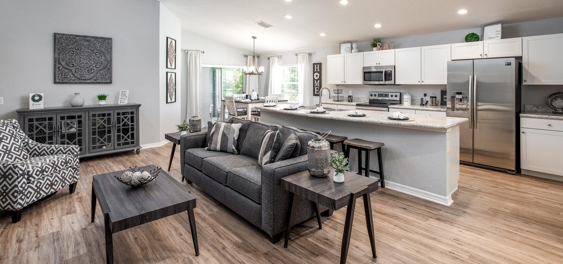 Open concept floor plan with great living area and kitchen