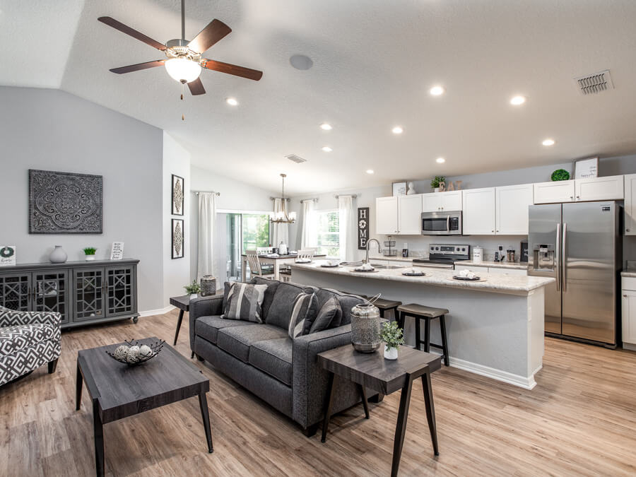 Highland Homes design center options showcased in a living area
