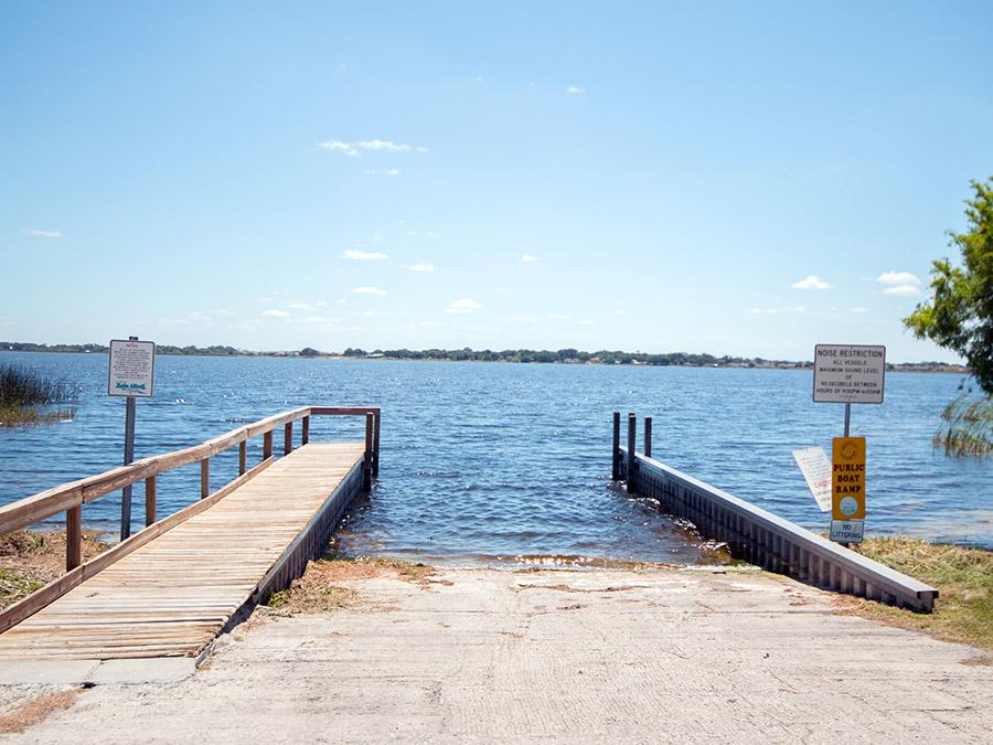Lake Rochelle public boat ramp, less than one mile from out Chain of Lakes homes for sale at The Lakes